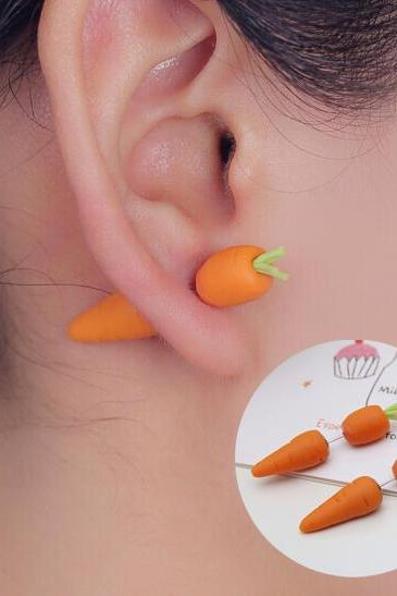 Handmade Green Polymer Clay Stud Earrings Carrot Plants Earrings
