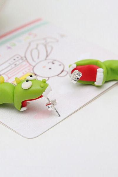 Handmade Green Polymer Clay Stud Earrings Little dinosaur Earrings