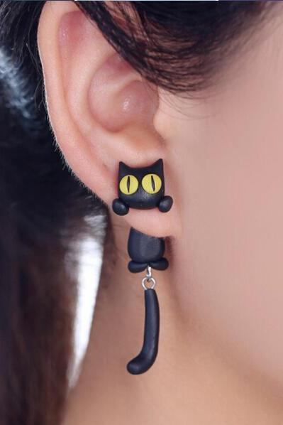 Polymer Clay Black Cat With Yellow Eyes Earring