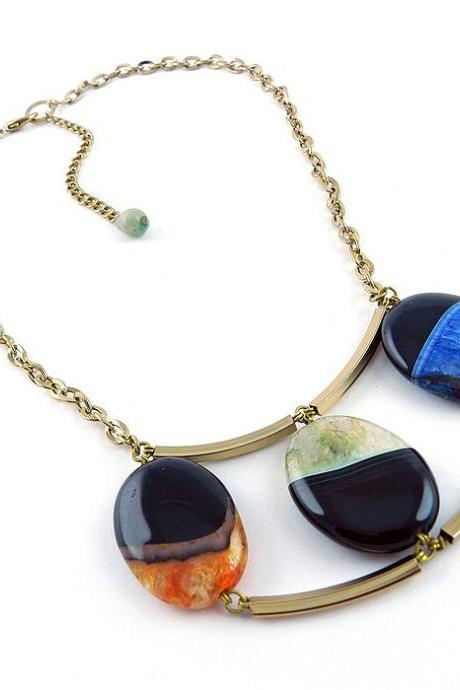 Geometric stone necklace - colorful agate necklace - contemporary gemstone jewelry - multicolored agate necklace - agate jewelry