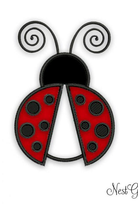 Lady Bug Applique Embroidery - Digital design for machine embroidery, Lovely Lady Bug file
