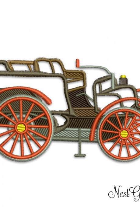 Embroidery Applique Digital Retro Car for Machine Embroidery, download Retro Car applique file