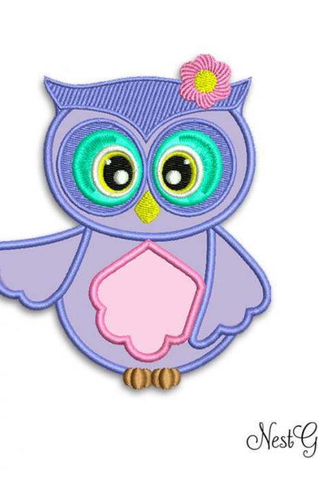 Buy and Download Lavander Owl Design Embroidery Applique Digital file