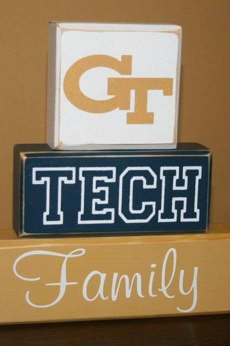 GT Georgia Tech Blocks Ready to Ship Hand Painted