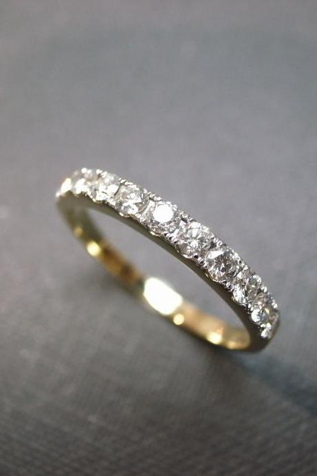 Wedding Anniversary Diamond Band Bridal Ring in 14K Yellow Gold