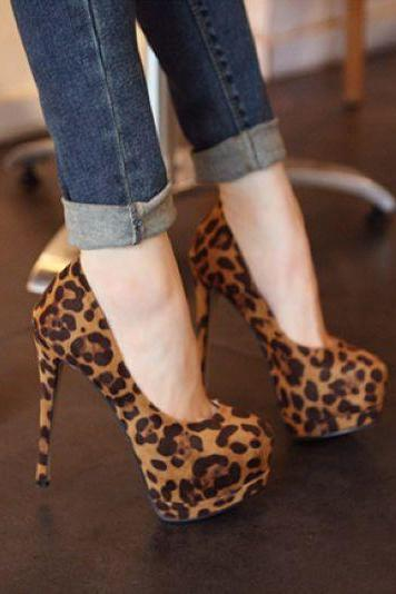 Stylish Leopard Print High heel Shoes
