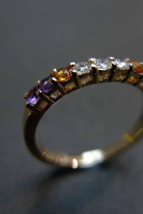 Diamond Wedding Ring with Citrine and Amethyst
