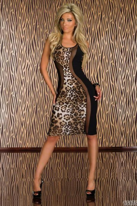 *Free Shipping* New Fashion OL Work Leopard Patchwork Party Casual Clubwear Evening Pelpum Bodycon Elegant Woman Dress