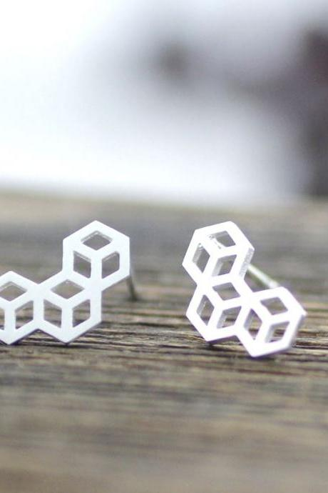 3D Tiny Cube Squares stud earrings in silver