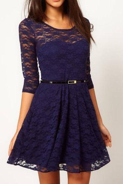 Sleeve Lace Dress With Belt Waist