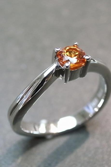 Citrine Engagement Ring in 14K White Gold