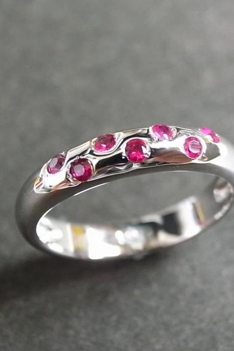 Ruby Wedding Ring in 14K White Gold
