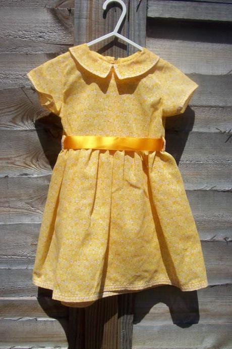 Baby girls orange cotton floral dress and knickers/pants