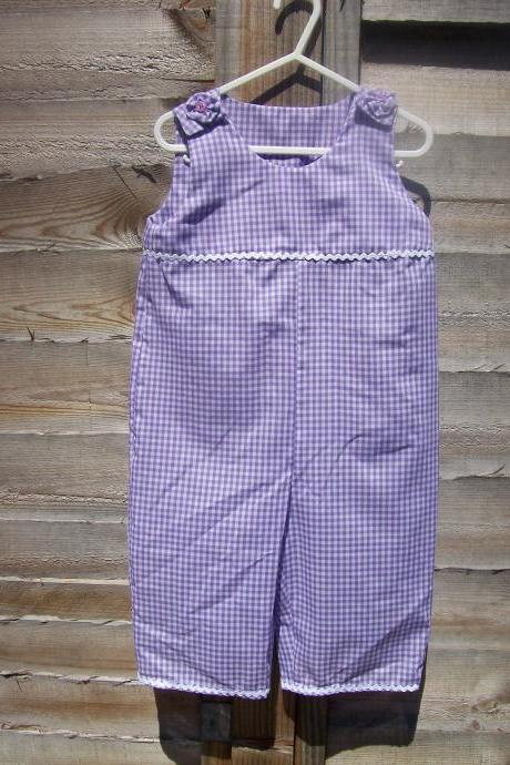 Baby girls purple gingham onesie/romper/all in one