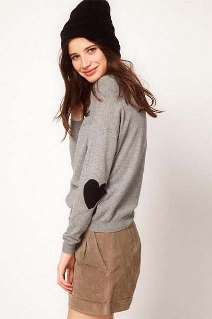 Sweet Sleeve Sweater&Cardigan Gray Love Heart