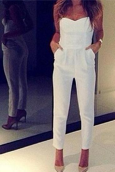 Hot Sale Fashionable Sexy White Jumpsuit 2014, Pretty White Jumpsuit 2014