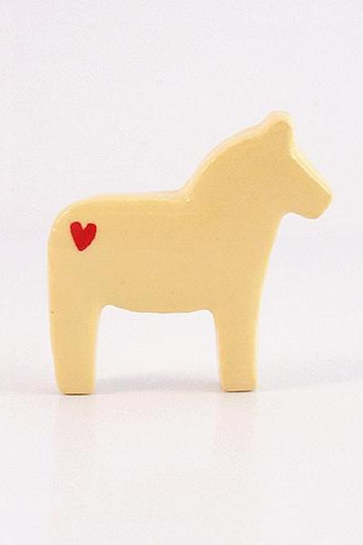 Creamy Yellow Dala Horse Figurine with Red Hearts
