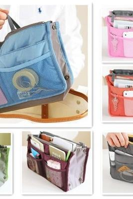 Handbag Purse Dual Organizer Insert mp3 phone cosmetic Storage Nylon Bag in Bag