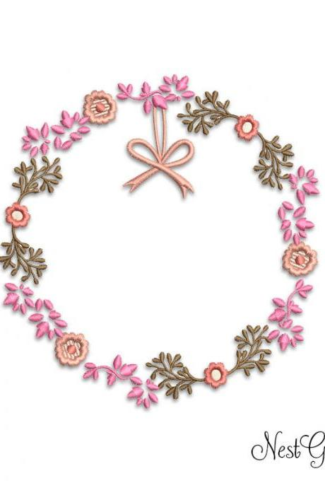 Embroidery Wreth Flowers - Digital Applique Flowers embroidery file