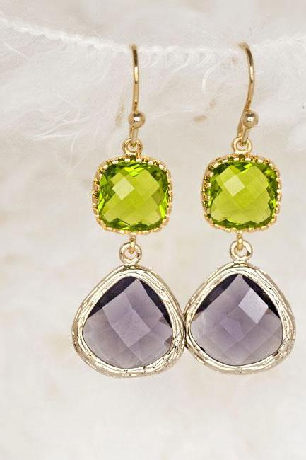 Green Square Purple Teardrop Dangle Earrings, Wedding Jewelry
