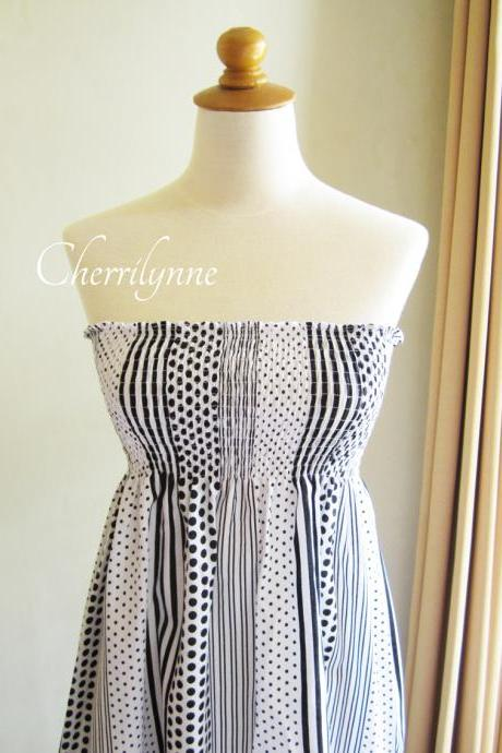 Summer Dress - Strapless Smocked Cotton Tube Dress Polkadot Stripes Pattern with Ruffles