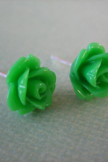 Adorable Mini Rose Earrings - Green - Jewelry by FIVE