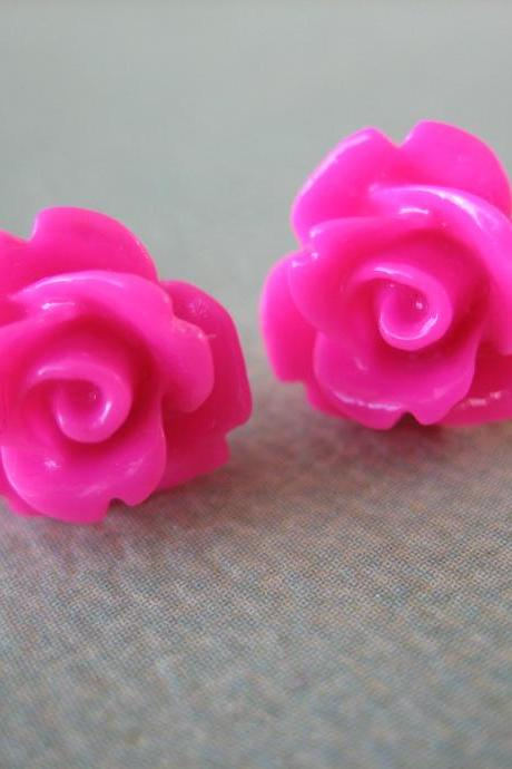 Adorable Mini Rose Earrings - Honeysuckle - Jewelry by FIVE