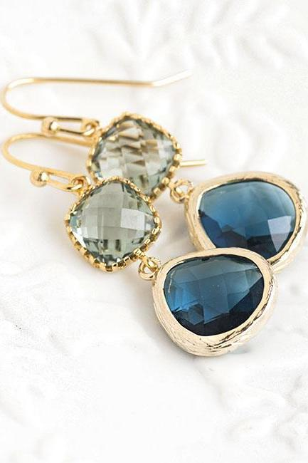 Grey Square Blue Teardrop Dangle Earrings, Wedding Jewelry