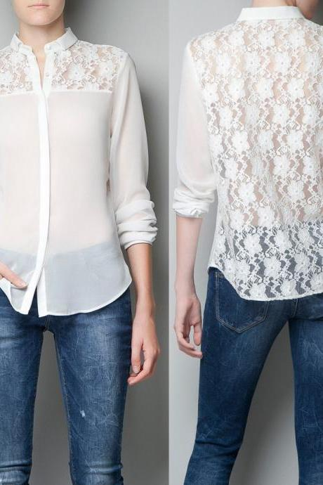 European style back-sleeved chiffon shirt shirt openwork lace stitching