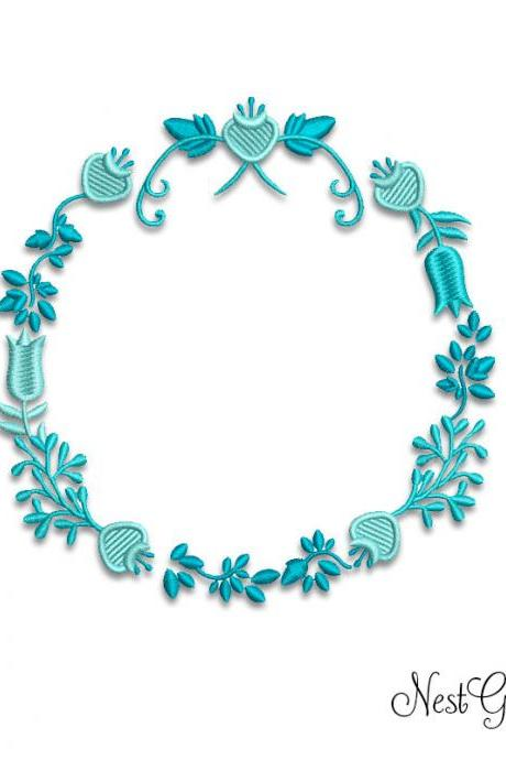Applique Embroidery Blue Wreth Digital file, download Machine Embroidery file