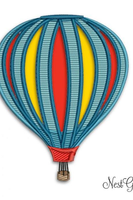 Hot Baloon Applique Digital file, Machine Embroidery Design file for Hot Baloon