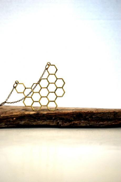 Honey Comb Antique Brass Necklace - Modern and Simple - Honeycomb Bib