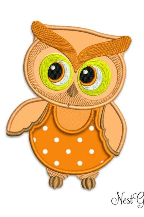 Owl Applique Embroidery Digital file, machine embroidery Orange Owl