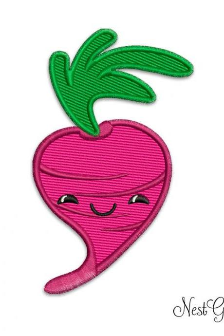 Digital Machine Embroidery Radish Design, Applique Embroidery digital file