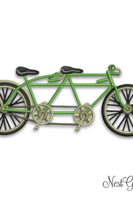 Tandem bicycle Retro Digital Applique Embroidery file