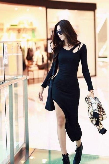 Sexy Black Long Sleeve Dress With Slit
