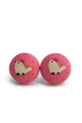 Fabric Buttons Earrings - Chicken Earrings, Pink color