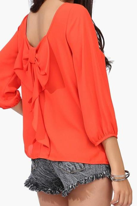 Casual Chiffon Blouses Top With Bow On Back In Red