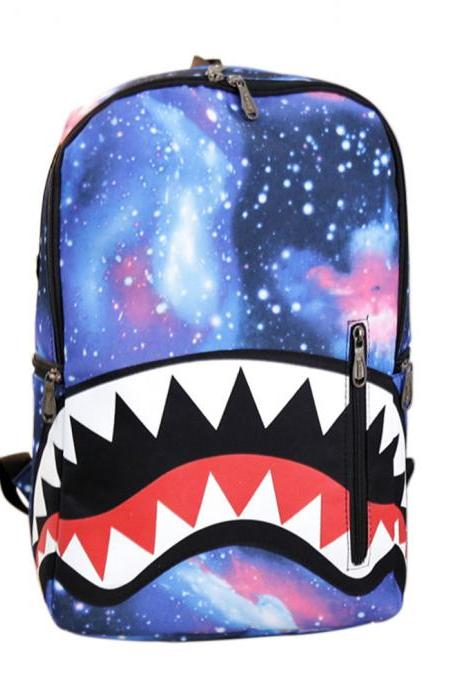 Cute Cartoon Shark Teeth Print Canvas Backpack Unisex School Bag