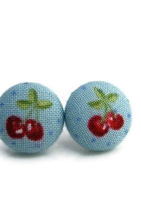 Red Cherry Mini Fabric Buttons Earrings