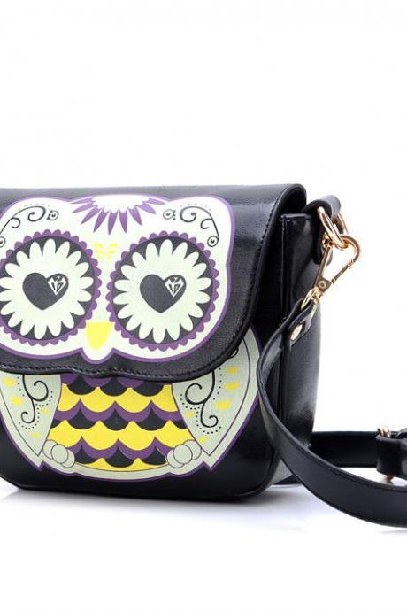Fashional Cartoon Owl-Shape Floral Print Crossbody Bag