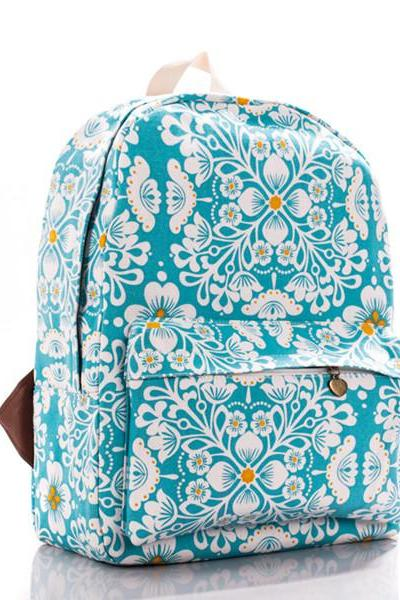 Flowers Printed Blue Canvas Backpack 0627008