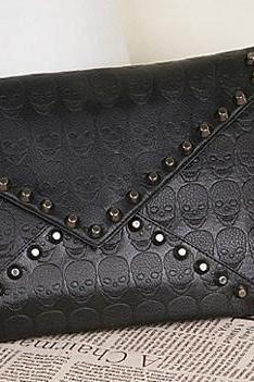 New 2014 Fashion Korean Designer Rivet Envelope Single Shoulder Women Bags Skull Clutch Crossbody Punk Brand Handbags