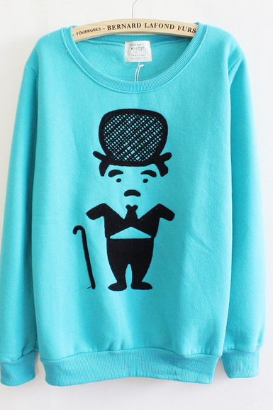 blue Thickened Fleece Characters Solid Sweater