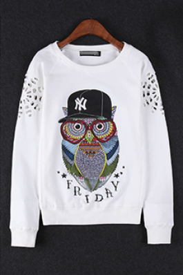 The European women's new 2015 early autumn long sleeve T-shirt han edition owl fleece sets female coat big yards