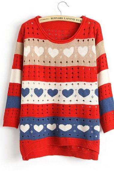 Cute Love Style Hollow Loose Women Knitting Sweater - Red