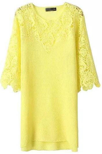 High Quality Round Neck Half Sleeve Dress - Yellow