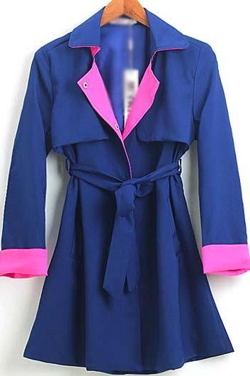 High Quality Turndown Collar Trench Coat For Lady - Blue