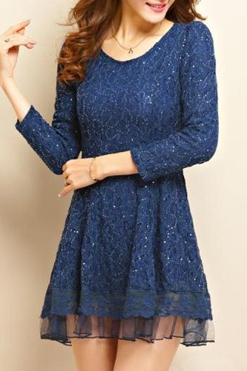 High Quality Woman Pretty Round Neck Long Sleeve Dress - Dark Blue