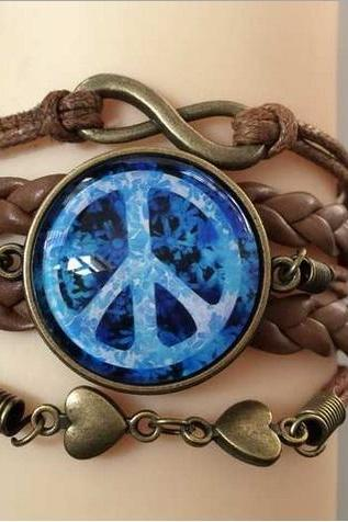 *Free Shipping* Leather Bracelet Women Crystal Sphere Blue Butterfly Charm Cord Pardcord
